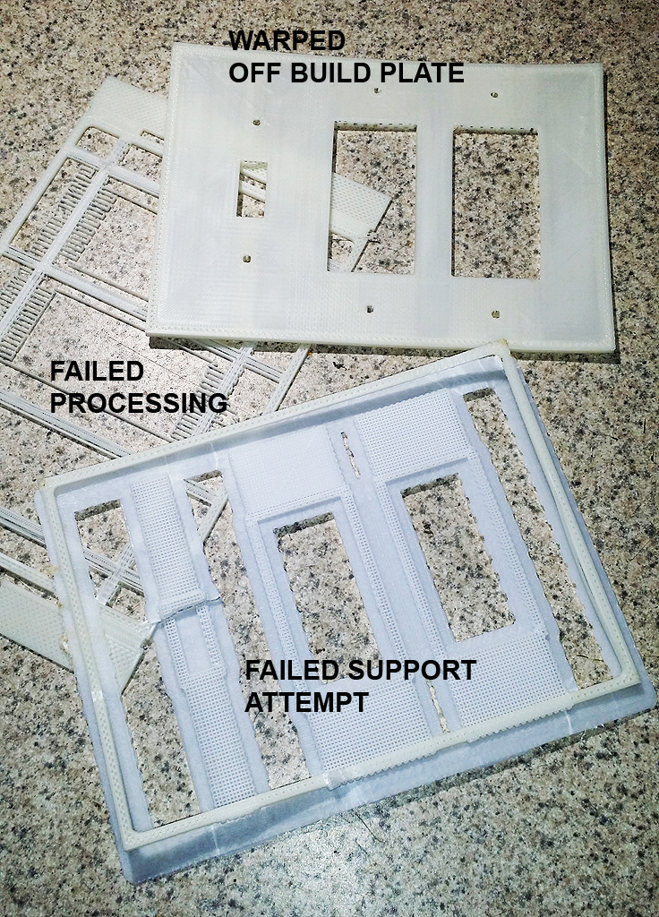The real issue with the affordable machine is the need to fuss and experiment until a good part is created. In this case, to get one good wall plate required three different failed attempts, succeeding on the forth.