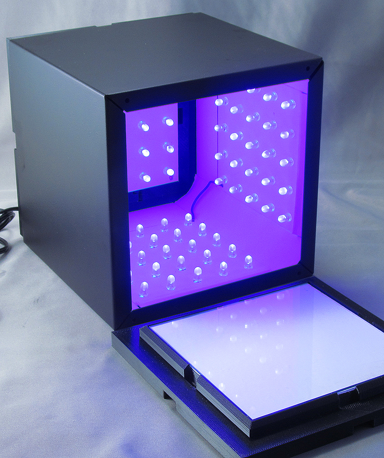 A look into the box lighted up and ready to accept parts.
