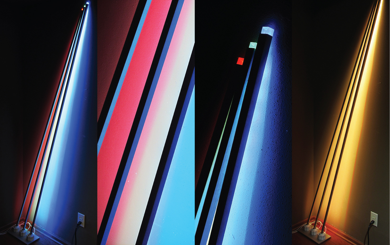 Wands arranged into a vectored arrangement, aimed directly at the wall.