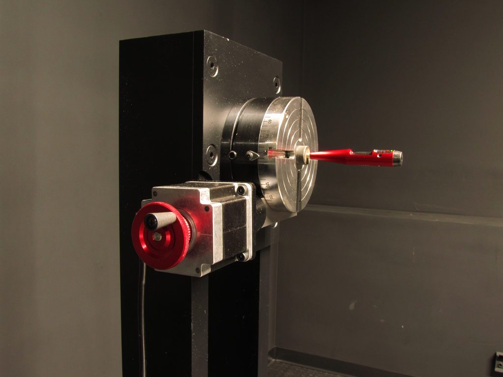 A laser alignment tool insures the fixture rotational center is aligned with the meter sensor